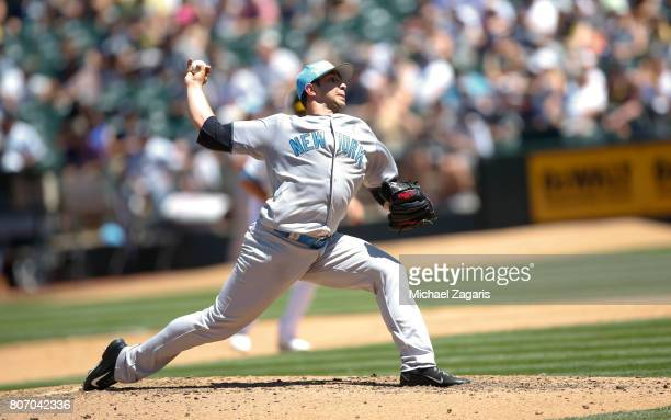 Luis Cessa of the New York Yankees pitches during the game against the Oakland Athletics at the Oakland Alameda Coliseum on June 18 2017 in Oakland...