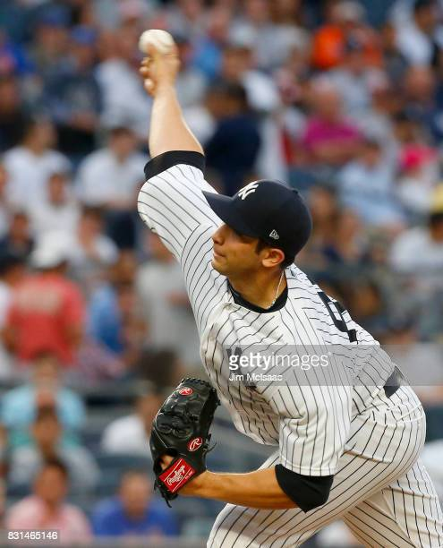 Luis Cessa of the New York Yankees pitches in the first inning against the New York Mets at Yankee Stadium on August 14 2017 in the Bronx borough of...