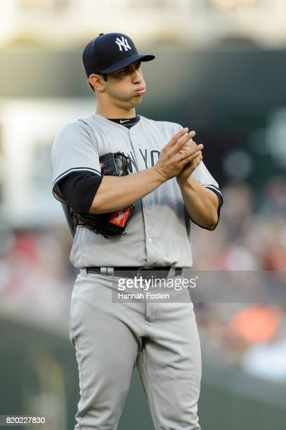 Luis Cessa of the New York Yankees reacts during the game against the Minnesota Twins on July 18 2017 at Target Field in Minneapolis Minnesota The...