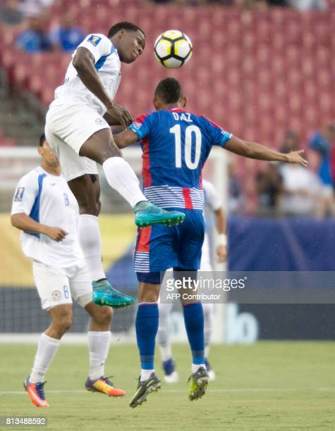 Luis Copete of Nicaragua heads the ball away from Ismael Diaz of Panama during the first half of their Group B Gold Cup soccer game on July 12 2017...