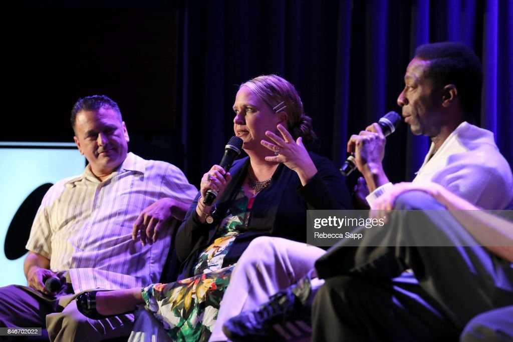 Luis Correa, Persephone 'Queen PÓ Laird and Greg Lee speak onstage at History of LA Ska at The GRAMMY Museum on September 13, 2017 in Los Angeles, California.