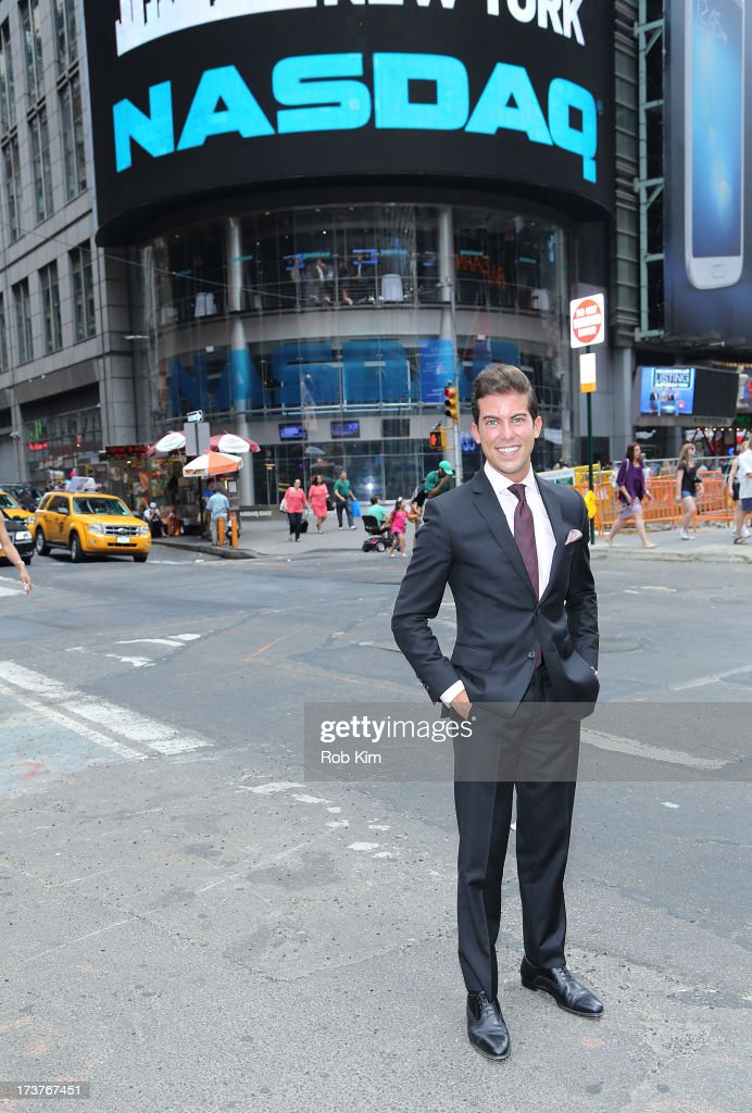 Luis D. Ortiz, cast member of Bravo's 'Million Dollar Listing' rings closing bell at NASDAQ MarketSite on July 17, 2013 in New York City.