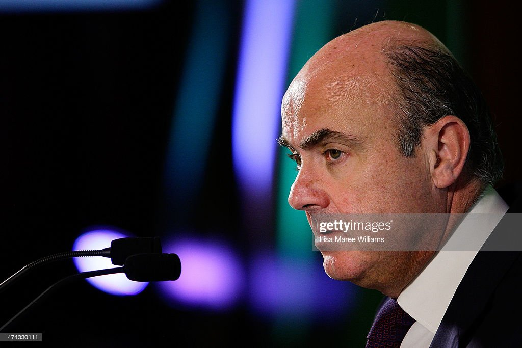 <a gi-track='captionPersonalityLinkClicked' href=/galleries/search?phrase=Luis+de+Guindos&family=editorial&specificpeople=8756055 ng-click='$event.stopPropagation()'>Luis de Guindos</a> Jurado, Minister of the Economy and Finance of Spain speaks to the media at the close of the G20 Finance Ministers and Central Bank Governors meetings on February 23, 2014 at The Intercontinental in Sydney, Australia. The G20 is two days of meeting that brings together Finance Ministers and Bank Governors from around the world, in a forum aimed at economic co-operation and decision making.