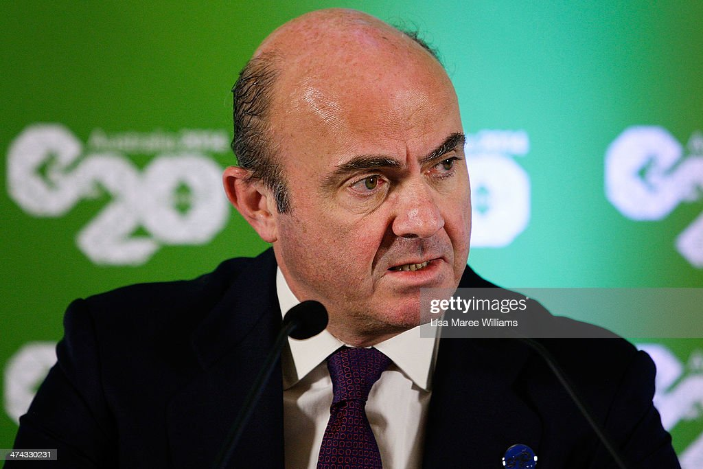 Luis de Guindos Jurado, Minister of the Economy and Finance of Spain speaks to the media at the close of the G20 Finance Ministers and Central Bank Governors meetings on February 23, 2014 at The Intercontinental in Sydney, Australia. The G20 is two days of meeting that brings together Finance Ministers and Bank Governors from around the world, in a forum aimed at economic co-operation and decision making.