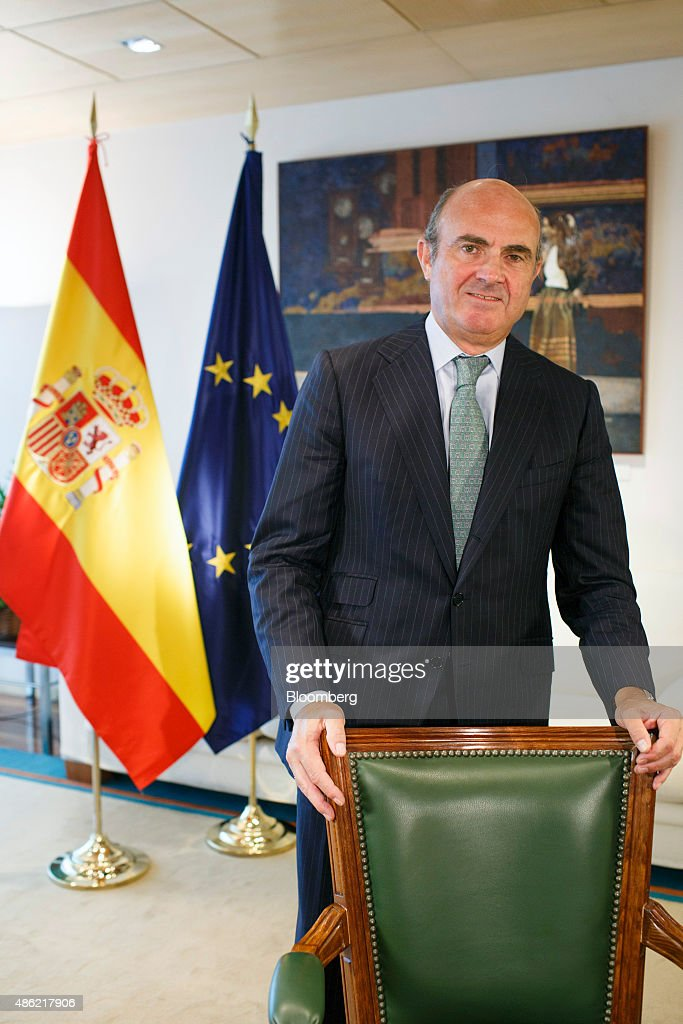 <a gi-track='captionPersonalityLinkClicked' href=/galleries/search?phrase=Luis+de+Guindos&family=editorial&specificpeople=8756055 ng-click='$event.stopPropagation()'>Luis de Guindos</a>, Spain's economy minister, poses for a photograph following a Bloomberg Television interview at the economy ministry in Madrid, Spain, on Wednesday, Sept. 2, 2015. The pace of job creation in Spain lost momentum in August, adding to signs that growth in the euro area's fourth-largest economy may have peaked as the country gears up for a general election. Photographer: Angel Navarrete/Bloomberg via Getty Images