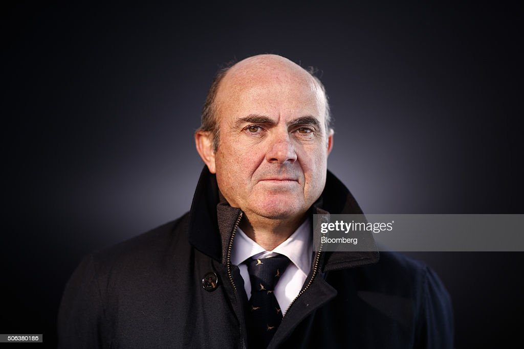 Luis de Guindos, Spain's economy minister, poses for a photograph following a Bloomberg Television interview at the World Economic Forum (WEF) in Davos, Switzerland, on Saturday, Jan. 23, 2016. World leaders, influential executives, bankers and policy makers attend the 46th annual meeting of the World Economic Forum in Davos from Jan. 20 - 23. Photographer: Simon Dawson/Bloomberg via Getty Images