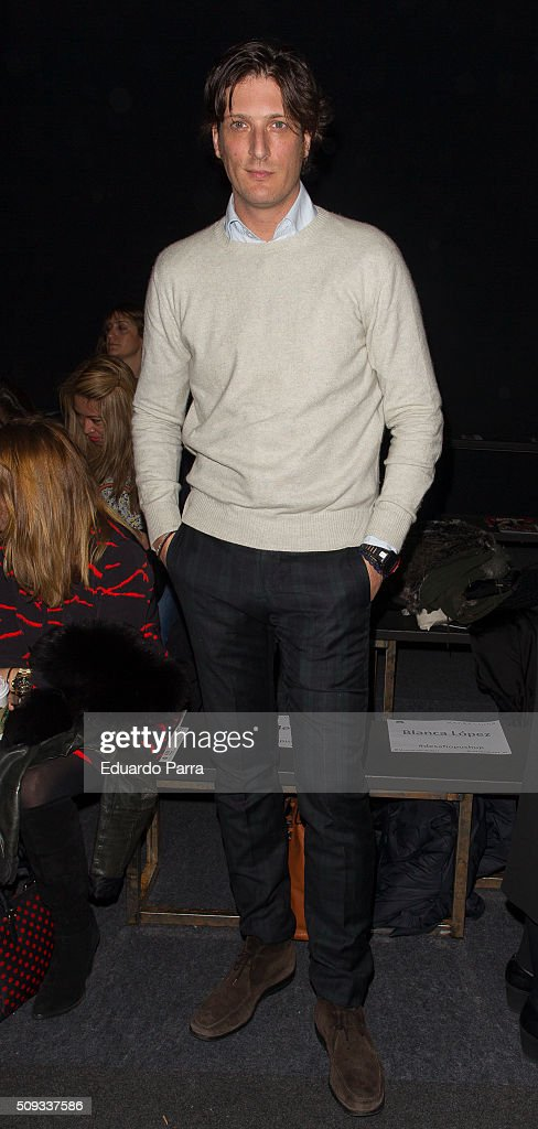 Luis de Medina attends Maybelline NY & Bloomers&Bikini fashion show frontrow at Colon Square on February 10, 2016 in Madrid, Spain.
