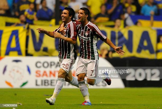 Luis Deco and Thiago Neves of Brazil's Fluminense celebrates a scored goal during a match against Argentina's Boca Juniors as part of the 2011 Copa...