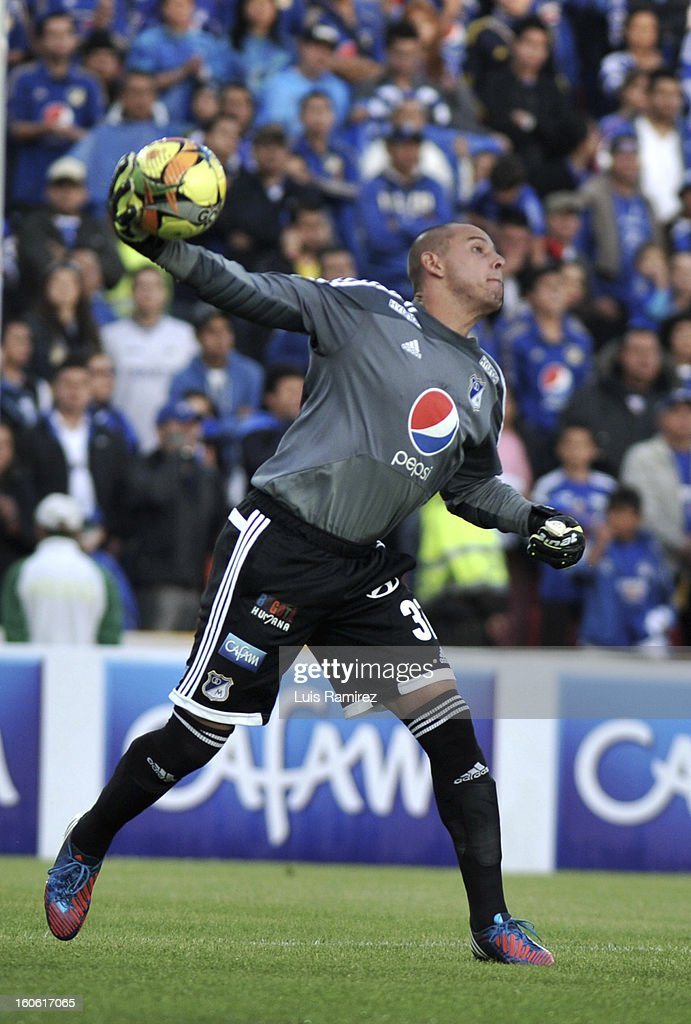 Luis Delgado, goalkeeper of Millonarios in action during a match between Millonarios and Equidad as part of the Liga Postobon 2013 at Nemesio Camacho Stadium on February 03, 2013 in Bogota, Colombia.