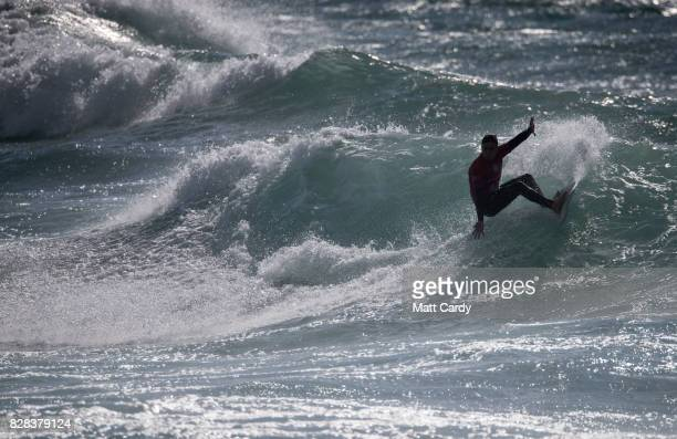Luis Diaz competes in a heat of the World Surf League Boardmasters Quiksilver Open at the annual Boardmasters festival held on Fistral beach in...