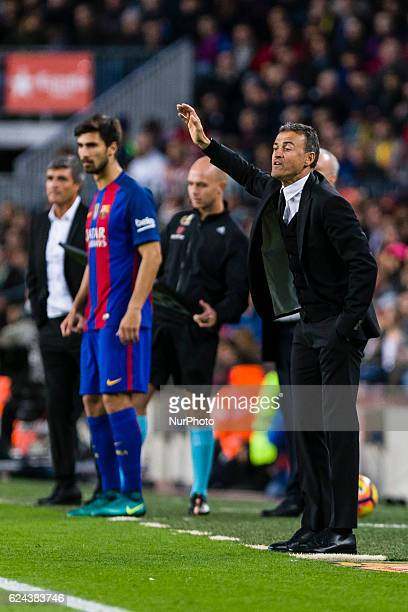 Luis Enrique and Andre Gomes during the match between FC Barcelona vs Malaga CF for the round 12 of the Liga Santander played at Camp Nou Stadium on...