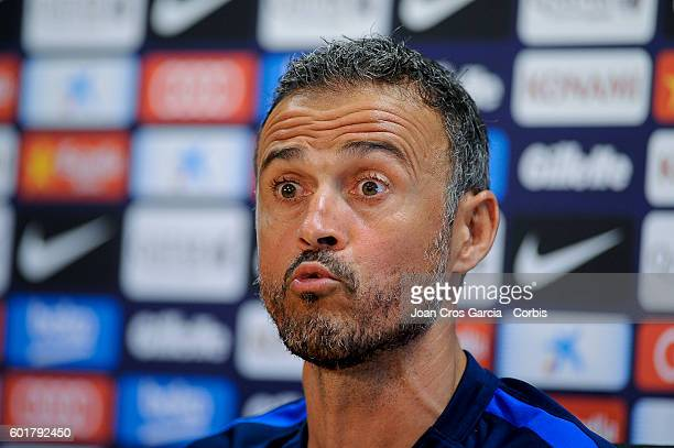 Luis Enrique attend the press at the Sports Center FC Barcelona Joan Gamper before the Spanish League match between FCBarcelona and Deportivo Alavés...