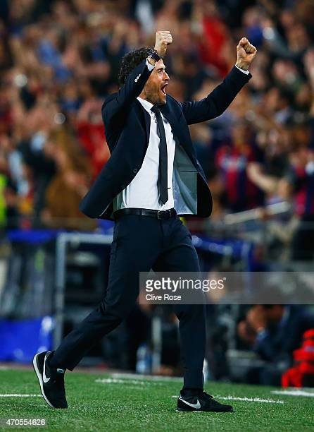 Luis Enrique manager of Barcelona celebrates as Neymar scores their first goal during the UEFA Champions League Quarter Final second leg match...
