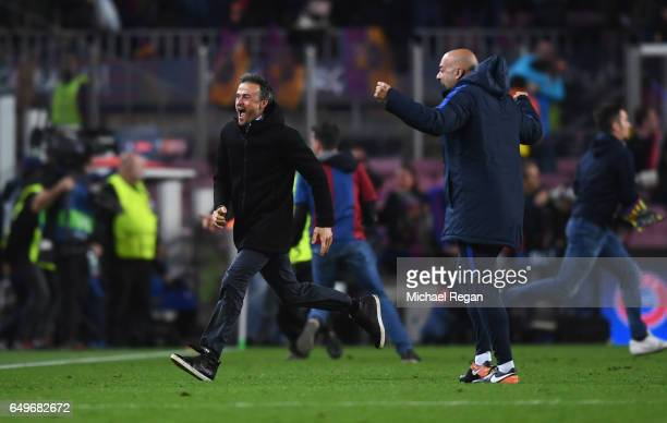 Luis Enrique manager of Barcelona celebrates as Sergi Roberto of Barcelona scores their sixth goal during the UEFA Champions League Round of 16...