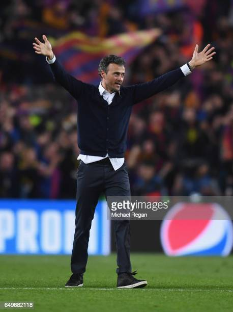 Luis Enrique manager of Barcelona celebrates victory after the UEFA Champions League Round of 16 second leg match between FC Barcelona and Paris...
