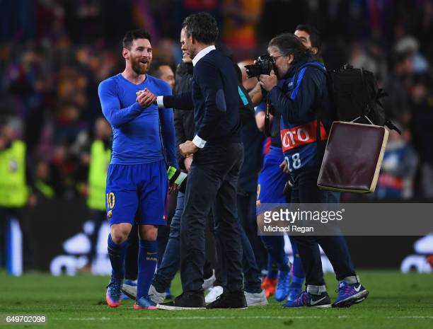 Luis Enrique manager of Barcelona celebrates victory with Lionel Messi after the UEFA Champions League Round of 16 second leg match between FC...