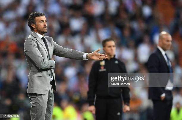 Luis Enrique manager of Barcelona reacts during the La Liga match between Real Madrid CF and FC Barcelona at Estadio Bernabeu on April 23 2017 in...
