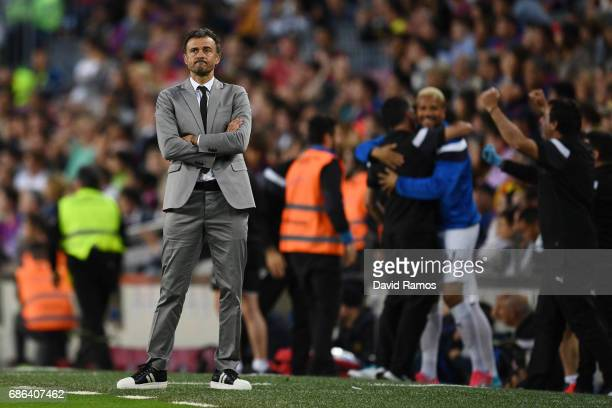 Luis Enrique Manager of Barcelona reacts during the La Liga match between Barcelona and Eibar at Camp Nou on 21 May 2017 in Barcelona Spain
