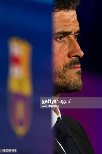Luis Enrique Martinez during his official presentation as the new coach of FC Barcelona at Camp Nou on May 21 2014 in Barcelona Spain