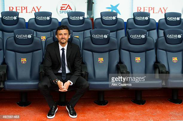 Luis Enrique Martinez poses for the media during his official presentation as new coach of FC Barcelona at Camp Nou on May 21 2014 in Barcelona Spain