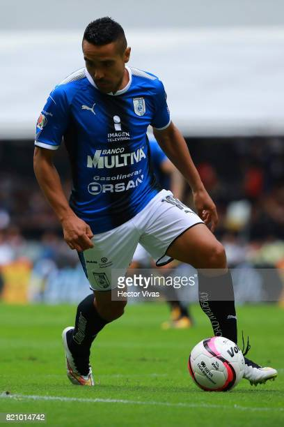 Luis Esqueda of Queretaro drives the ball during the 1st round match between America and Queretaro as part of the Torneo Apertura 2017 Liga MX at...