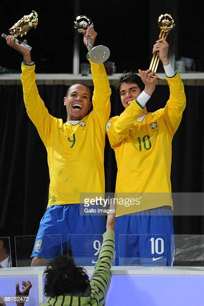Luis Fabiano and Kaka of Brazil celebrate during the 2009 Confederations Cup final match between Brazil and USA from Ellis Park on June 28 2009 in...