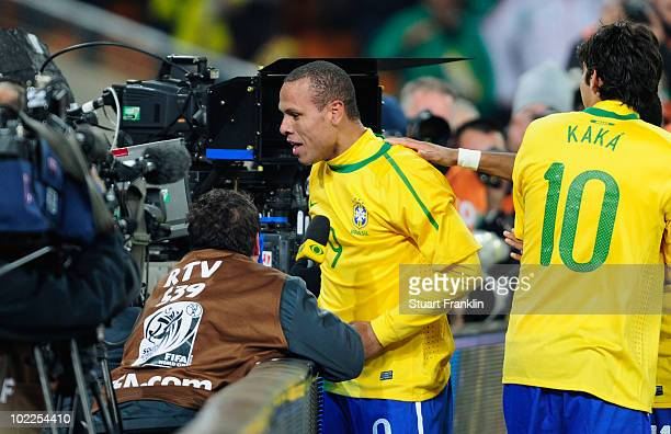 Luis Fabiano of Brazil celebrates scoring his second goal during the 2010 FIFA World Cup South Africa Group G match between Brazil and Ivory Coast at...