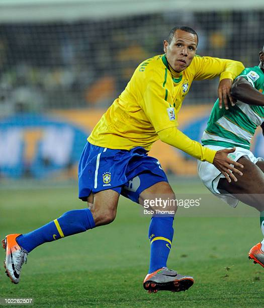 Luis Fabiano of Brazil during the 2010 FIFA World Cup South Africa Group G match between Brazil and Ivory Coast at Soccer City Stadium on June 20...