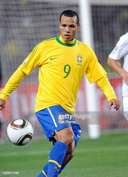 Luis Fabiano of Brazil during the 2010 FIFA World Cup South Africa Round of Sixteen match between Brazil and Chile at Ellis Park Stadium on June 28...