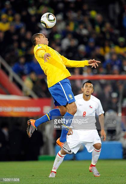 Luis Fabiano of Brazil heads the ball during the 2010 FIFA World Cup South Africa Round of Sixteen match between Brazil and Chile at Ellis Park...