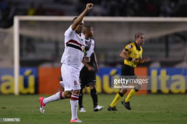 Luis Fabiano of Sao Paulo celebrates a scored goal during a match between Vasco and Sao Paulo as part of the brazilian championship Serie A at Sao...