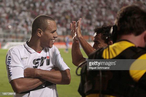 Luis Fabiano of S‹o Paulo celebrates a goal during the match between S‹ao Paulo from Brazil and Universidad de Chile from Chile as part of the...