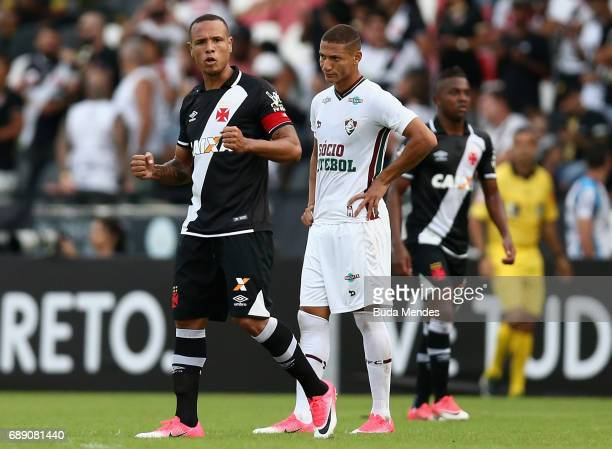 Luis Fabiano of Vasco celebrates a scored goal against Fluminense during a match between Vasco and Fluminense part of Brasileirao Series A 2017 at...
