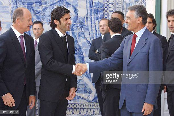 Luis Felipe Scolari Luis Figo and Cavaco Silva President Cavaco Silva hosts the Portugal National Team at Palacio de Belem on June 1 2006 Tomorrow...