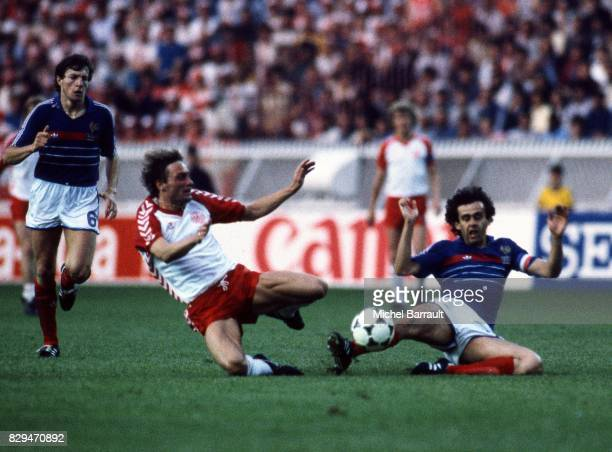 Luis Fernandez and Michel Platini of France during the European Championship match between France and Denmark at Parc des Princes Paris France on...