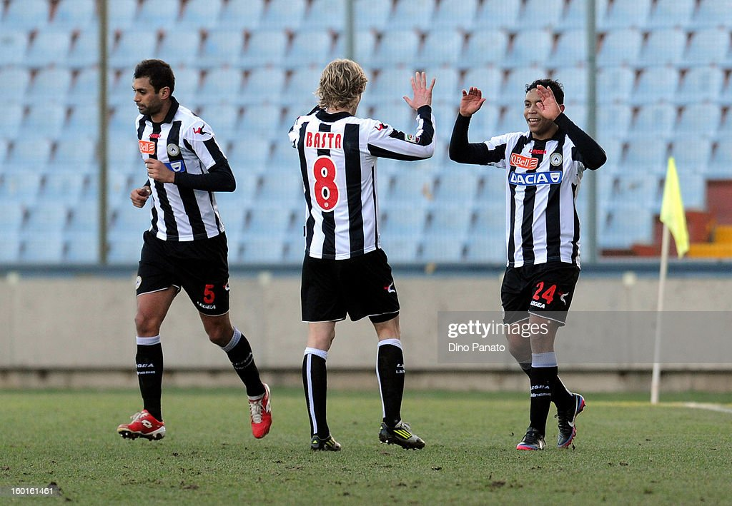 Luis Fernando Muriel Fruto (R) of Udinese Calcio celebrates with team-mates after scoring his opening goal during the Serie A match between Udinese Calcio and AC Siena at Stadio Friuli on January 27, 2013 in Udine, Italy.