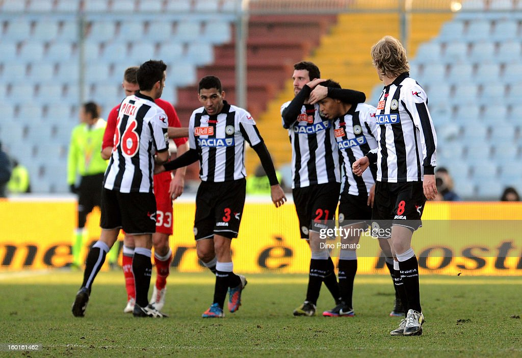 Luis Fernando Muriel Fruto (2nd R) of Udinese Calcio celebrates with team-mates after scoring his opening goal during the Serie A match between Udinese Calcio and AC Siena at Stadio Friuli on January 27, 2013 in Udine, Italy.