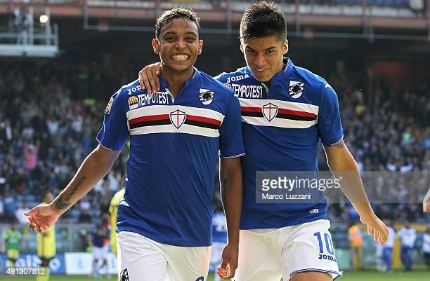 Luis Fernando Muriel of UC Sampdoria celebrates with his teammate Carlos Joaquin Correa during the Serie A match between UC Sampdoria and FC...