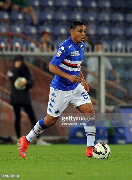Luis Fernando Muriel of UC Sampdoria in action during the Serie A match between UC Sampdoria and Parma FC at Stadio Luigi Ferraris on May 31 2015 in...
