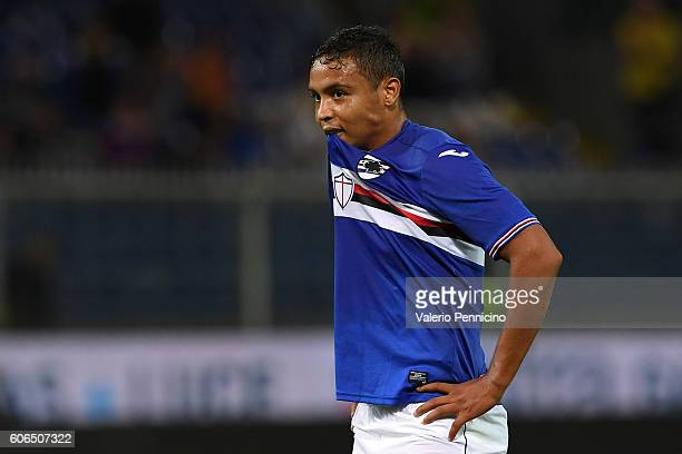Luis Fernando Muriel of UC Sampdoria looks dejected during the Serie A match between UC Sampdoria and AC Milan at Stadio Luigi Ferraris on September...