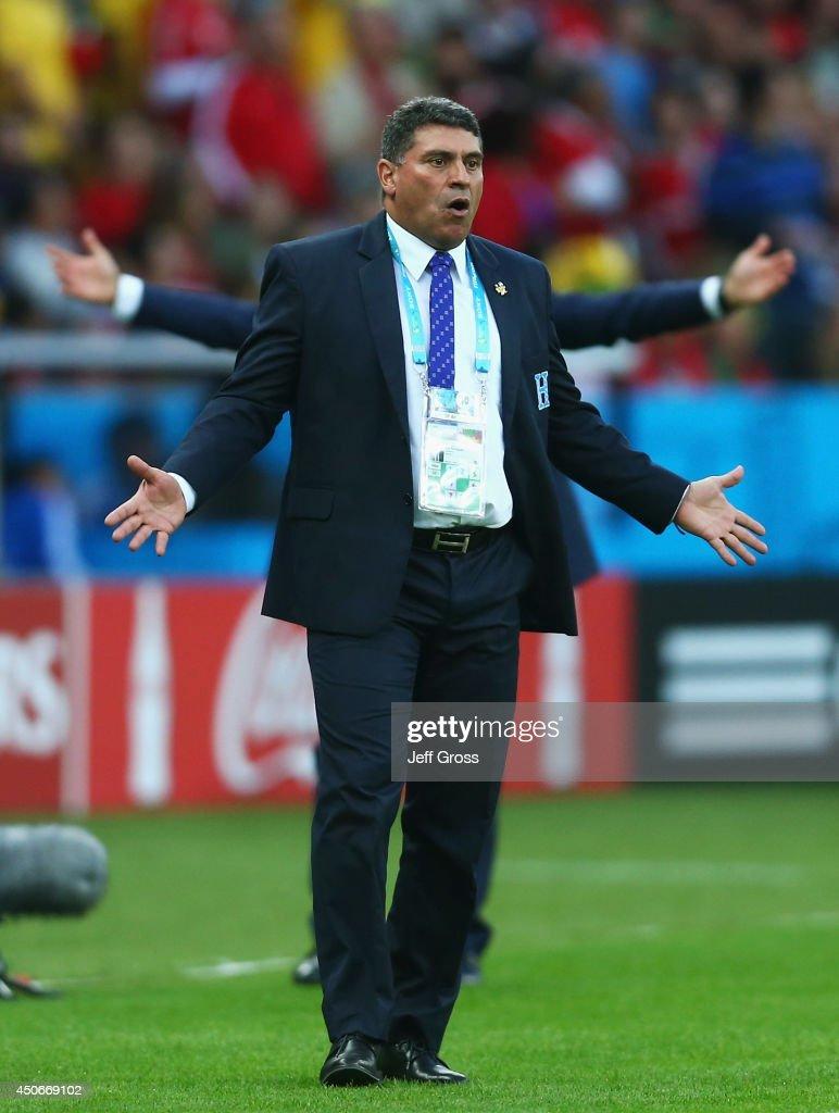 Luis Fernando Suarez of Honduras reacts during the 2014 FIFA World Cup Brazil Group E match between France and Honduras at Estadio Beira-Rio on June 15, 2014 in Porto Alegre, Brazil.