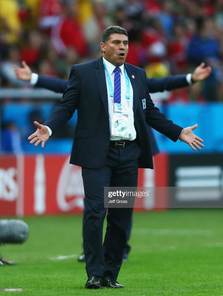 Luis Fernando Suarez of Honduras reacts during the 2014 FIFA World Cup Brazil Group E match between France and Honduras at Estadio Beira-Rio on June 15, 2014 in Porto Alegre, Brazil.