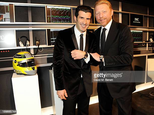 Luis Figo and Boris Becker attend the IWC Schaffhausen Race Night event during the Salon International de la Haute Horlogerie 2013 at Palexpo on...