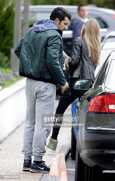 Luis Figo and Helen Swedin are seen on March 27 2013 in Madrid Spain