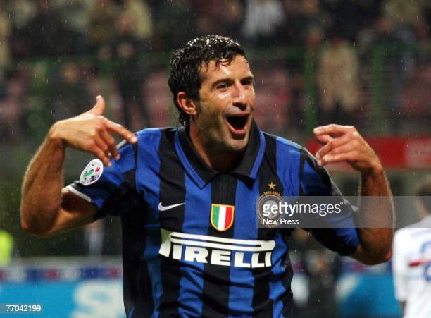 Luis Figo of Inter Milan celebrates after scoring during the Serie A match between Inter Milan and Sampdoria at the San Siro Stadium on September 26...
