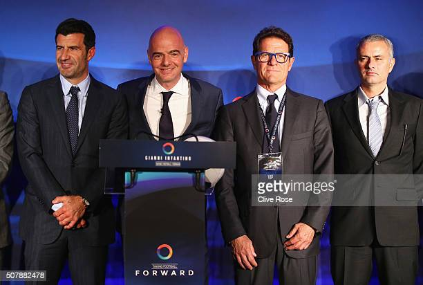 Luis Figo of Portugal FIFA Presidential candidate Gianni Infantino Fabio Capello and former Chelsea manager Jose Mourinho pose after Gianni...