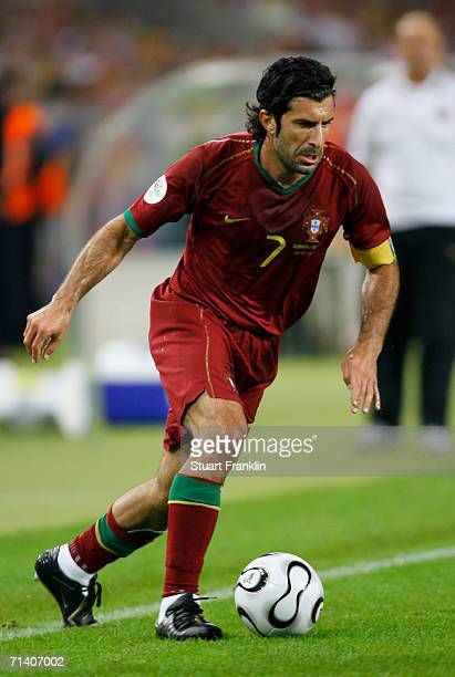 Luis Figo of Portugal in action during the FIFA World Cup Germany 2006 Third Place Playoff match between Germany and Portugal played at the...