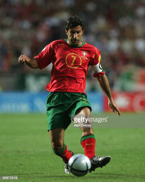 Luis Figo of Portugal in action during the UEFA Euro 2004 Group A match between Russia and Portugal at the Luz Stadium on June 16 2004 in Lisbon...
