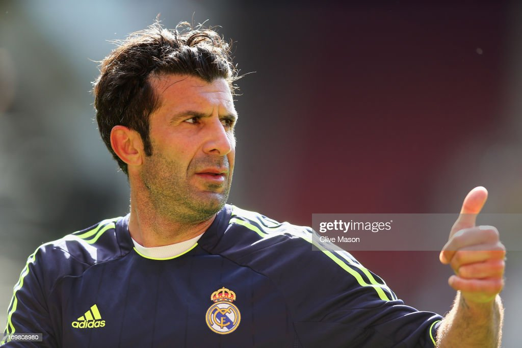 <a gi-track='captionPersonalityLinkClicked' href=/galleries/search?phrase=Luis+Figo&family=editorial&specificpeople=201507 ng-click='$event.stopPropagation()'>Luis Figo</a> of Real Madrid in action during the match between Manchester United Legends and Real Madrid Legends at Old Trafford on June 2, 2013 in Manchester, England.