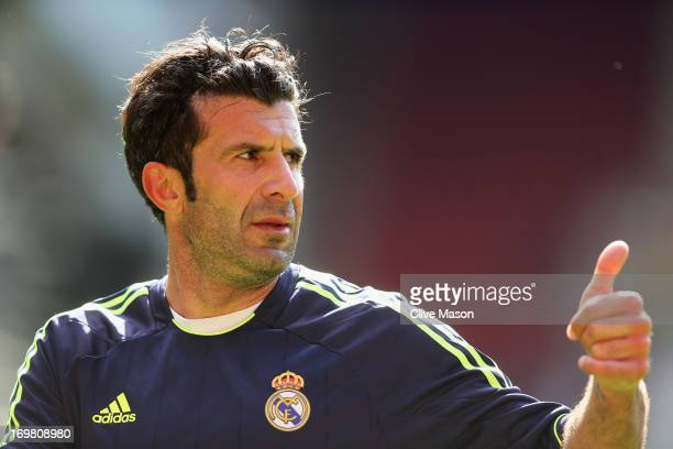Luis Figo of Real Madrid in action during the match between Manchester United Legends and Real Madrid Legends at Old Trafford on June 2 2013 in...